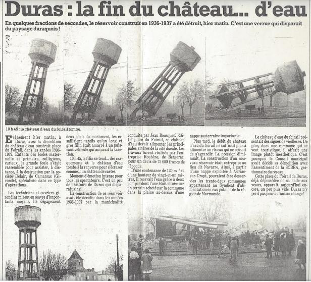 Démolition Château d'eau